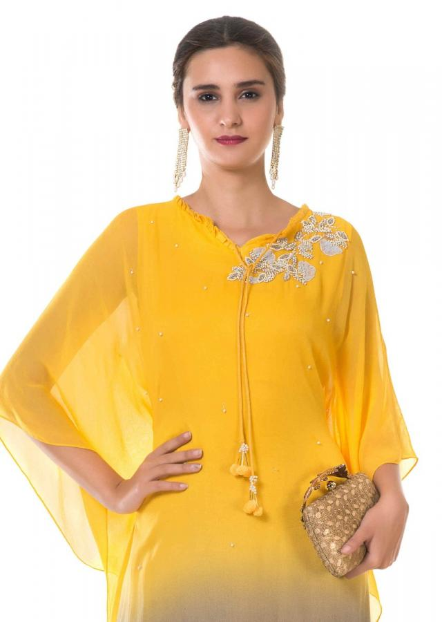 Yellow And Grey Shaded Kaftan With Hand Embroidery Online - Kalki Fashion