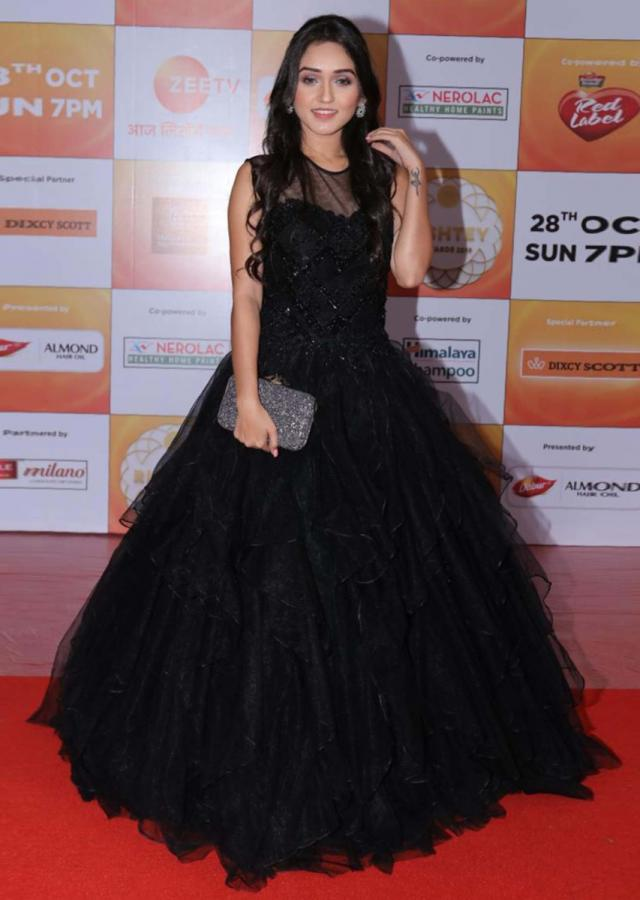 Tanya Sharma in Kalki rich black gown with handkerchief layers