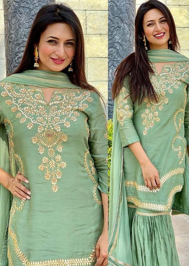 Divyanka Tripathi in Kalki fern green gotta embroidered sharara suit set
