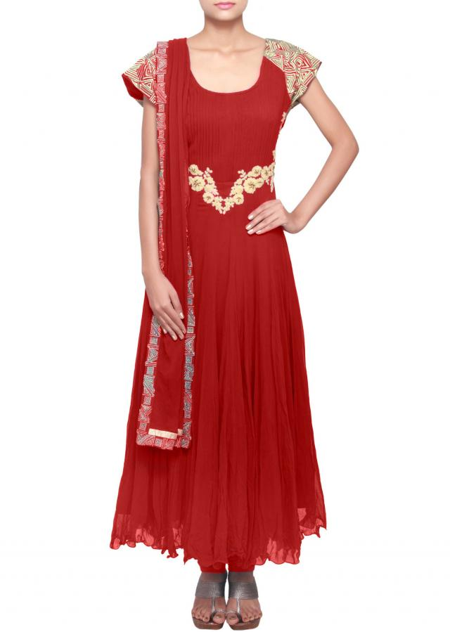Red anarkali suit embellished in zari and thread work only on Kalki