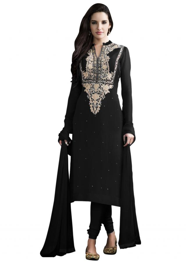 Black and gold kurta with churidar pants