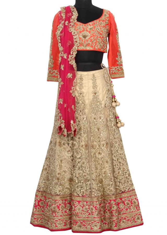 Cream lehenga embellished in zardosi and zari embroidery only on Kalki