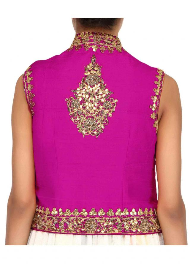 Pink jacket embellished in gotta patti embroidery only on Kalki