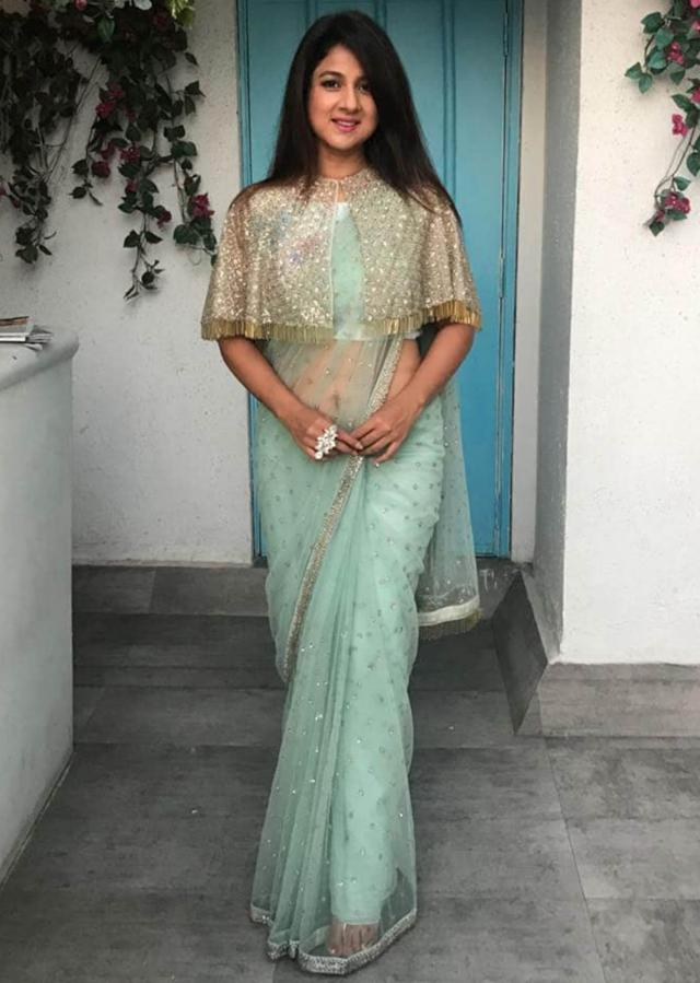 Mint Green Saree In Net With Cape Net Blouse Featuring Sequins And Tassels Online - Kalki Fashion