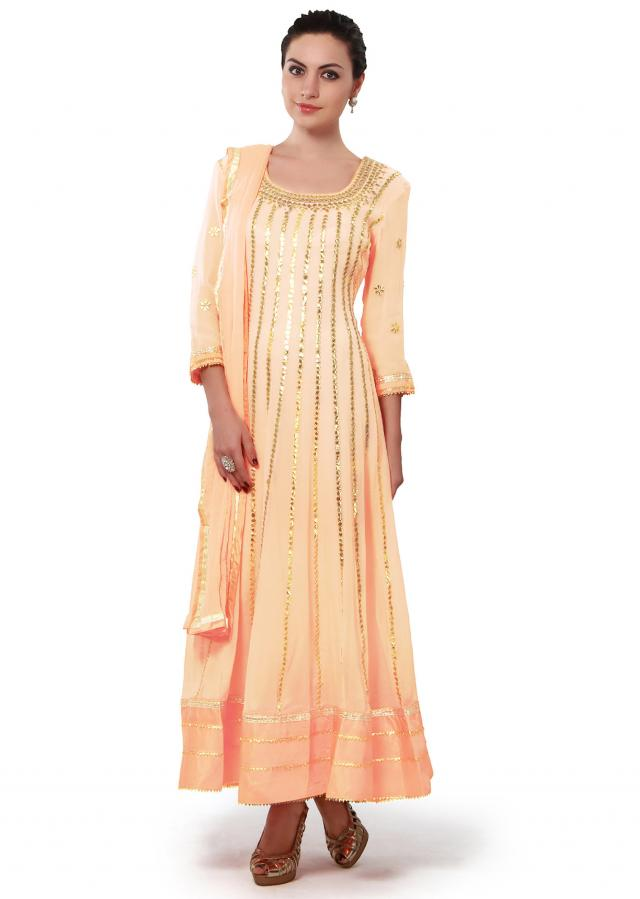 Peach Anarkali Suit Adorned In Gotta Patch Work Online - Kalki Fashion