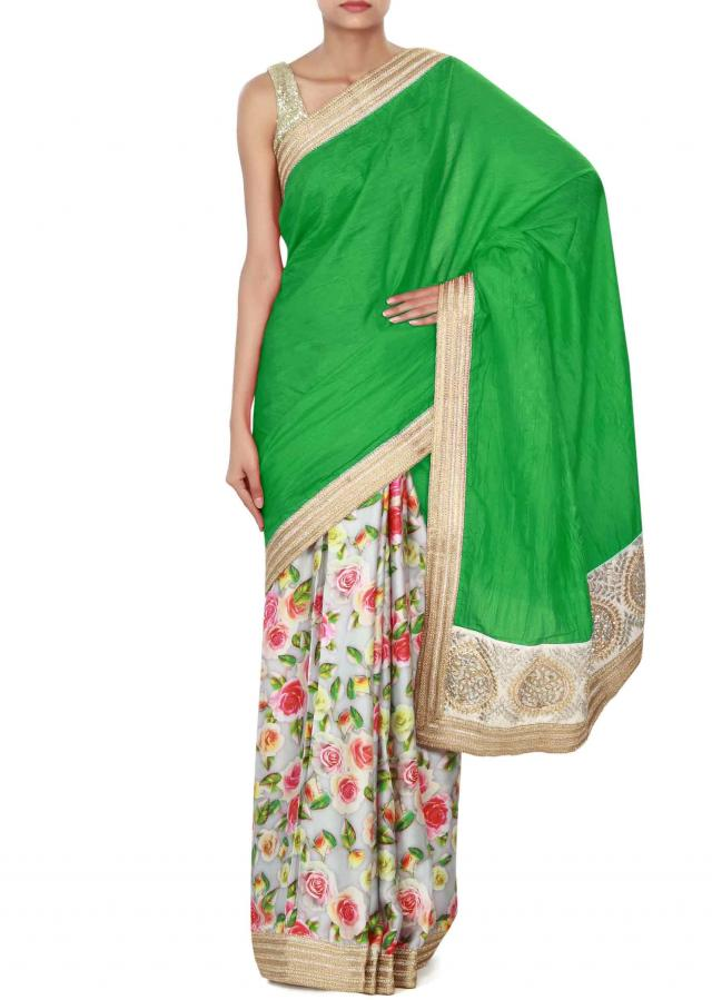 Grey green half saree in floral print with zari border only on Kalki