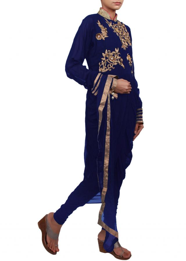 Blue suit featuring with zardosi and cowl drape only on Kalki