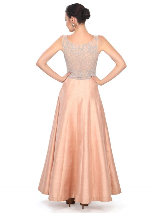 Baby peach dress adorn in embellished yoke only on Kalki