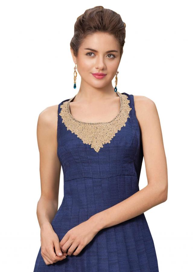 Navy blue anarkali suit enhanced in thread and foil print