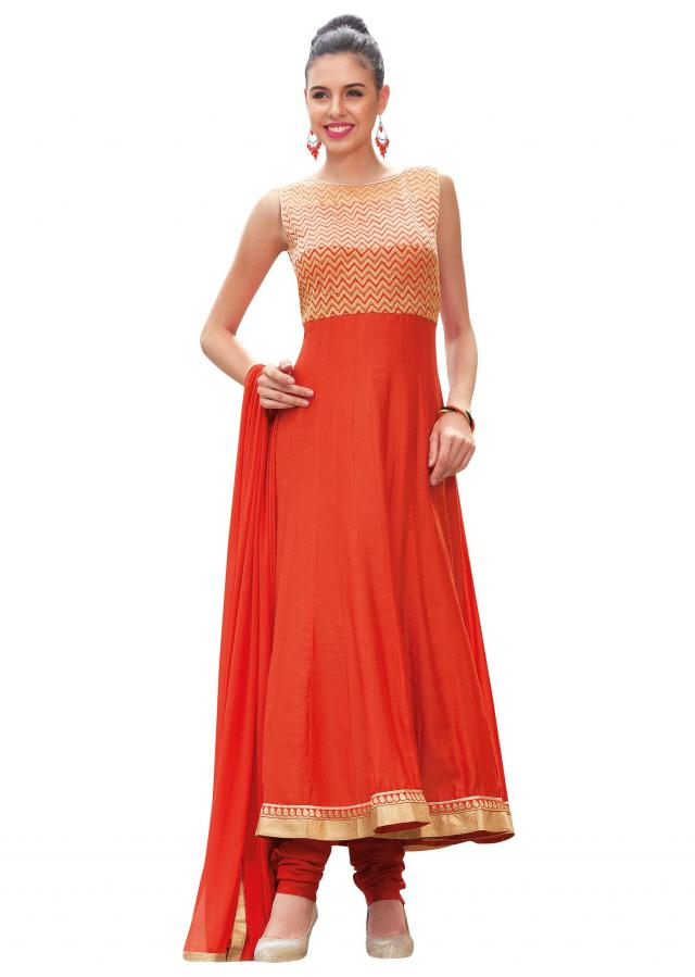 Orange anarkali suit embellished in zari and kardana embroidery