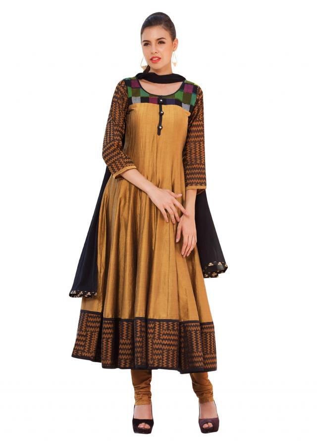 Olive anarkali suit featuring in multi color yoke only on Kalki