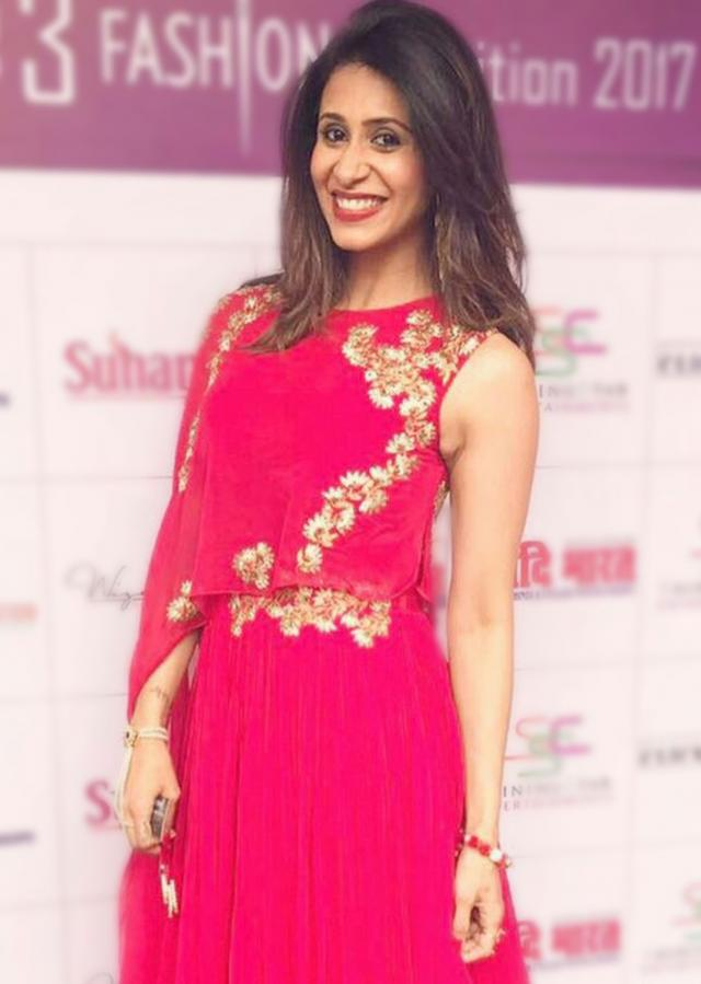 Kishwer Merchant in Kalki rani pink gown with fancy embroidered cape