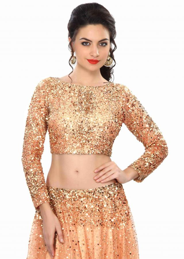 Peach Lehenga Embellished In Sequin Embroidery Online - Kalki Fashion