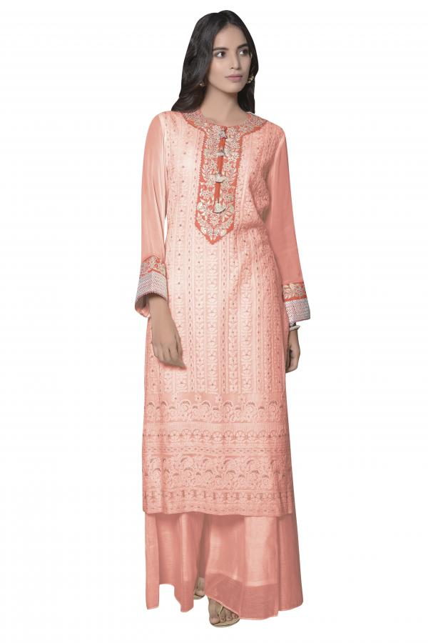 A line kurti in peach lucknowi thread embroidery