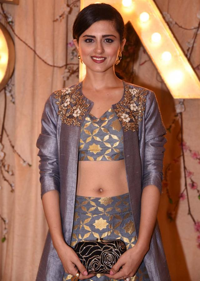 Ridhi Dogra in kalki Grey lehenga with pearl embroidered jacket
