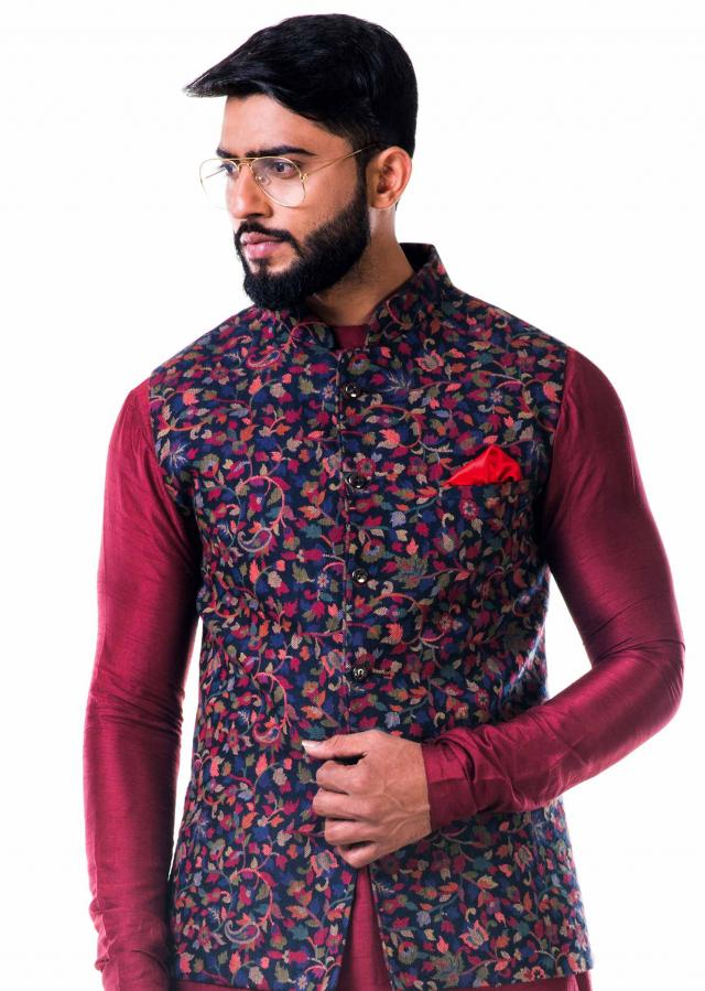 Multicolour leaf  weave pashmina nehru jacket only on Kalki