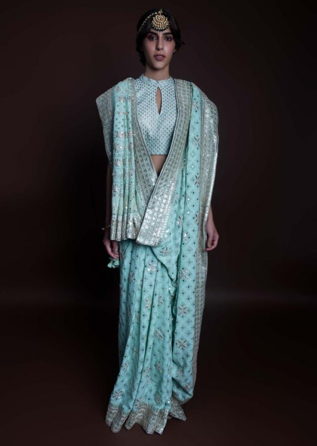 Mint green lucknowi embroidered georgette saree only on kalki
