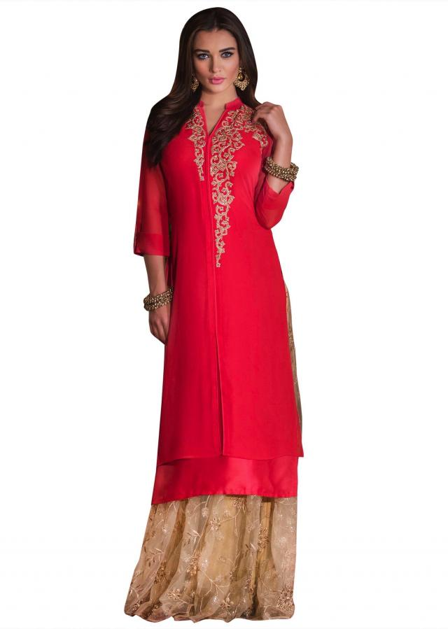 Coral peach kurti embellished in zari and kundan
