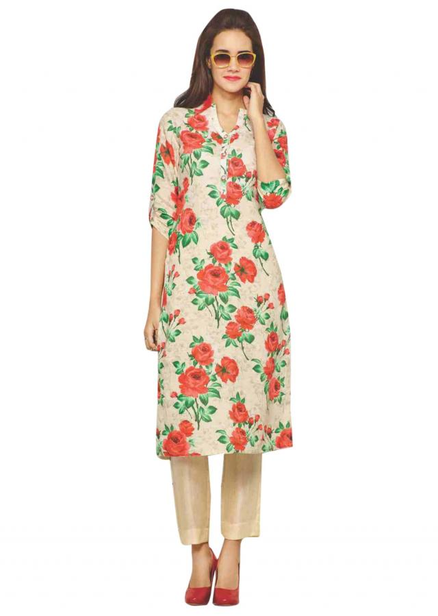 Cream kurti with floral print and fancy buttons