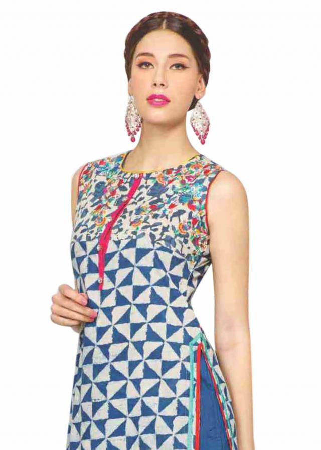 Off white and indigo kurti with resham work yoke only on Kalki