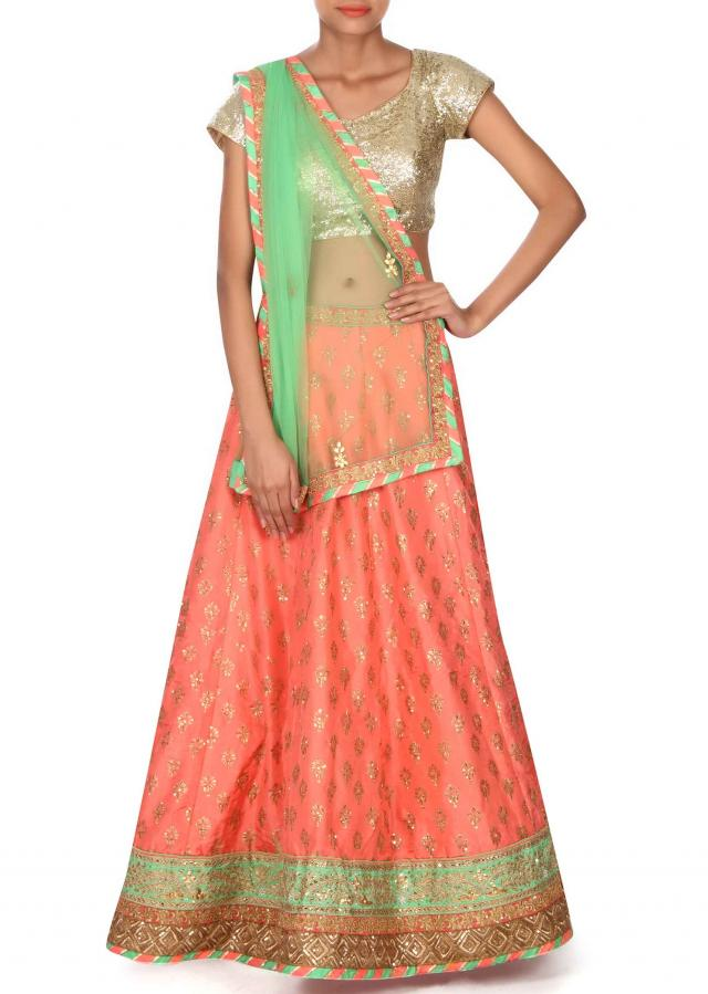 Dark pink lehenga adorn in foil print and zari only on Kalki