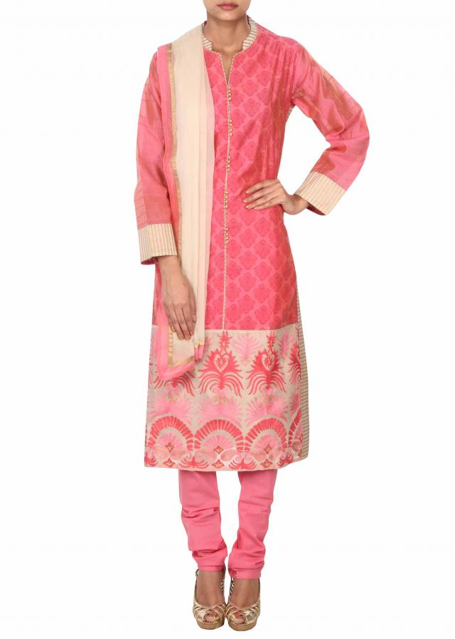 Pink straight suit adorn in aari embroidery only on Kalki