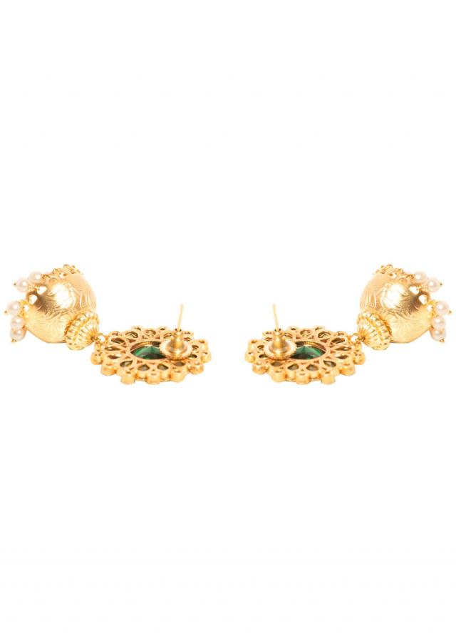 Big Floral Green Top Jhumki Earrings