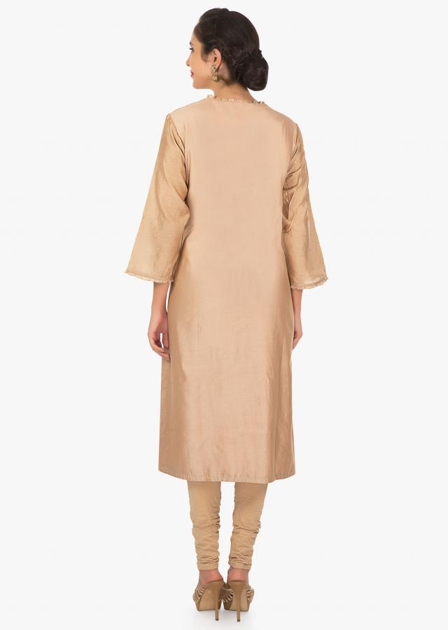 A line brown kurti with a dupatta in zari and resham embroidery only on Kalki