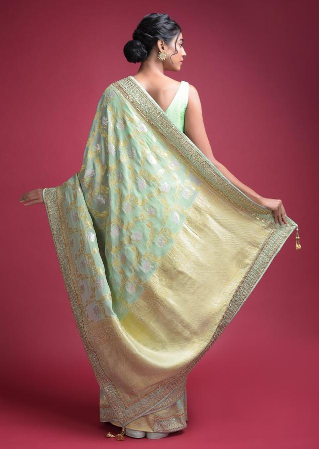 Acadia Green Banarasi Saree In Georgette With Weaved Floral Jaal Online - Kalki Fashion
