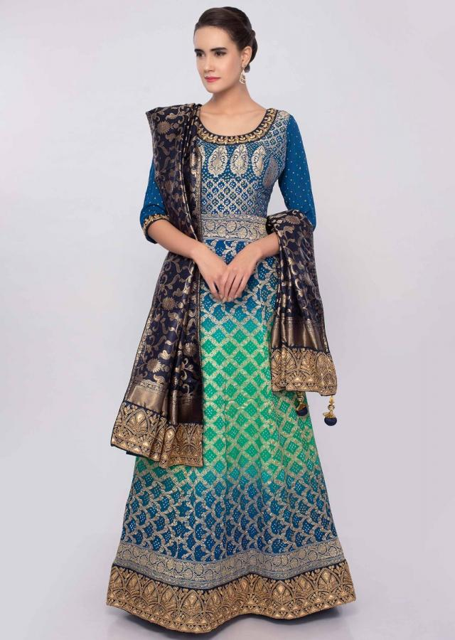 Admiral Blue And Green Shaded Anarkali In Crushed Georgette With Bandhani Print Online - Kalki Fashion
