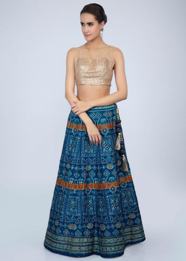 Admiral blue patola printed lehenga with green organza dupatta only on Kalki