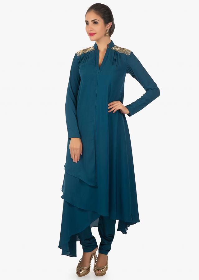 Aegean blue double georgette kurti with cut dana and zari on shoulders only on kalki