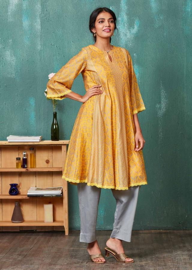 Amber Yellow Anarkali Suit With Floral And Moroccan Print Online - Kalki Fashion