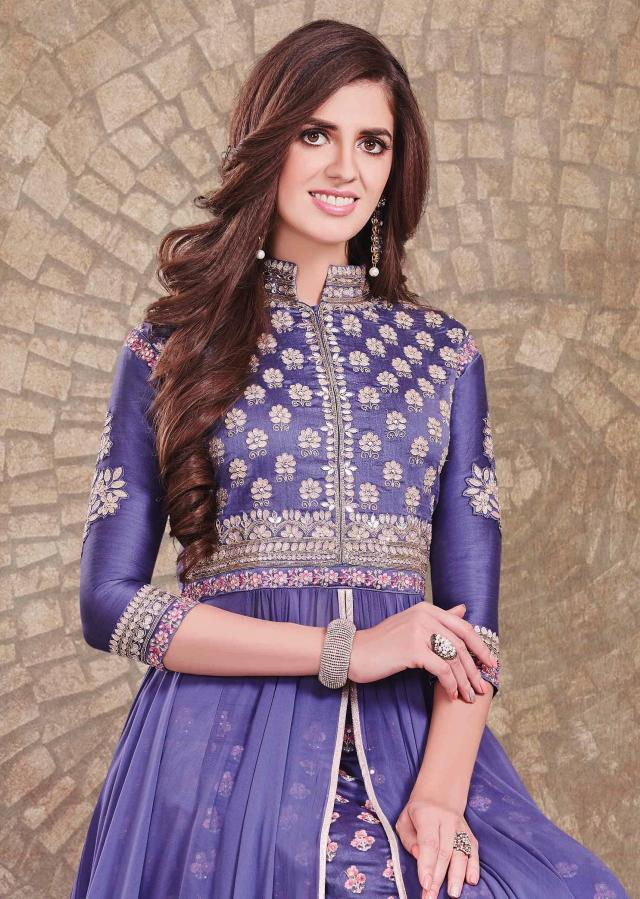 Ampora blue anarkali suit in embroidered bodice mathced with skirt