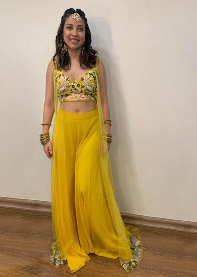 Amrita Puri In Kalki Sun Yellow Crop Top And Palazzo Set With A Jacket And Floral Embroidery