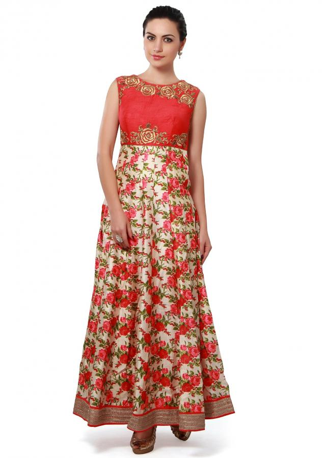 Anarkali suit enhanced in floral print only on Kalki