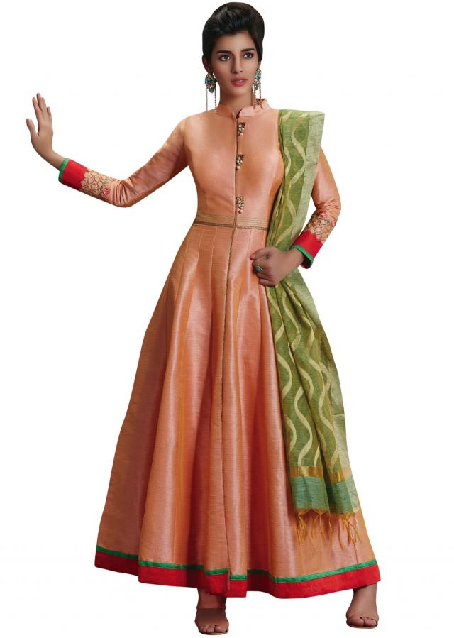Anarkali suit in peach raw silk with fancy placket