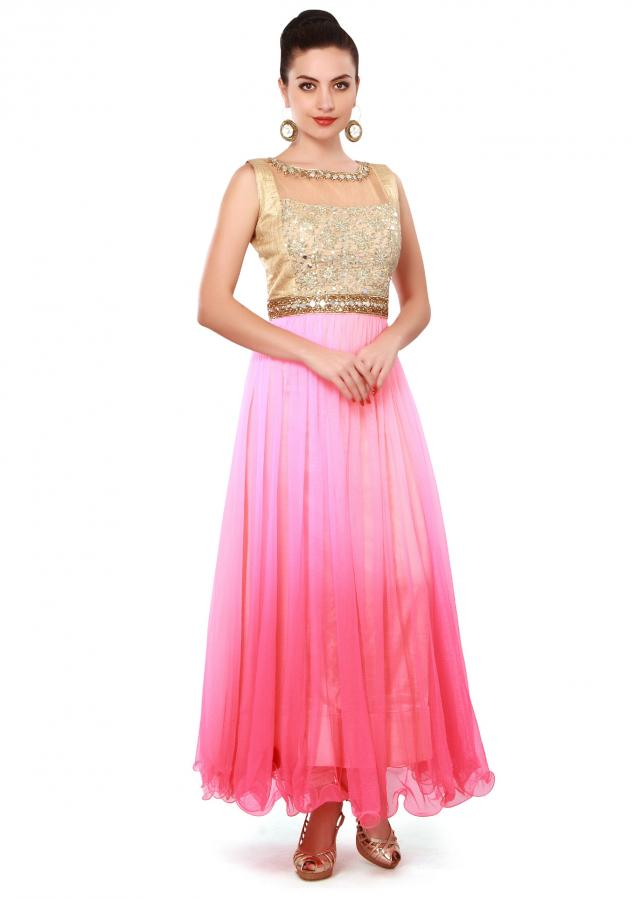 Anarkali suit in pink and peach embellished in sequin and mirror only on Kalki
