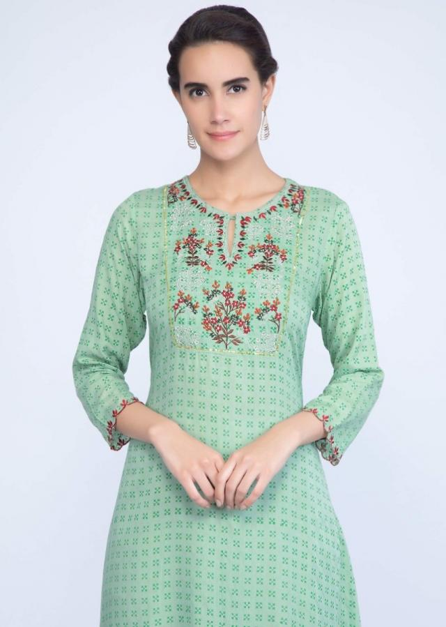 Apple green cotton kurti with floral embroidered placket only on Kalki