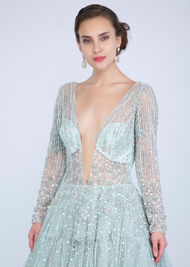 Aqua Blue Gown With Frilled Layer In Embroidered Net And Sheer Net Deep V Bodice Online - Kalki Fashion