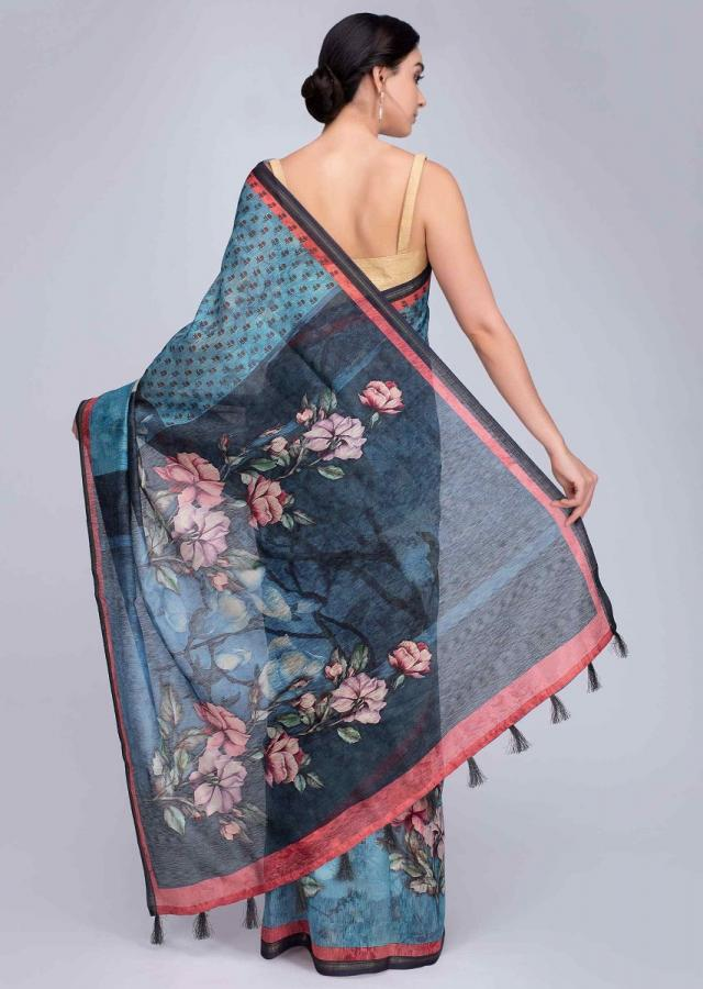Aqua blue tussar silk saree in digital water color print  only on Kalki