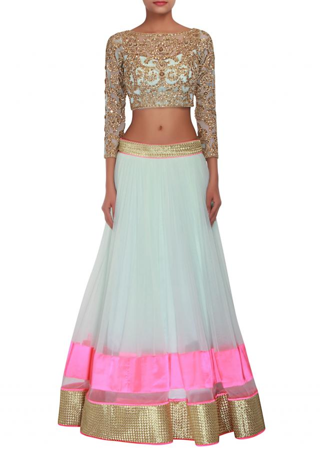 Sea  green lehenga embellished in zari and sequin embroidery only on Kalki