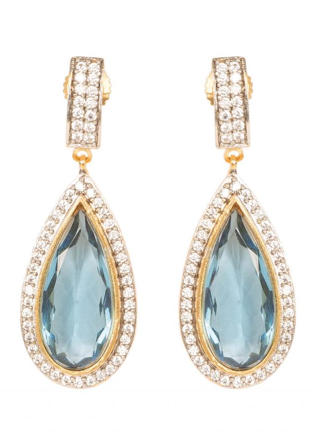 Aqua Blue Diamond Danglers