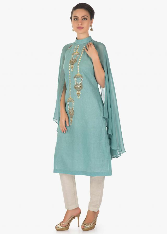 Artic blue angel sleeves kurti enhanced with resham and moti motifs only on kalki