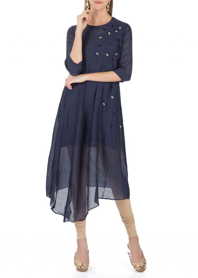 Asymmetrical Navy Blue Cotton Silk Top Adorned with Sequins and Moti Butti only on Kalki