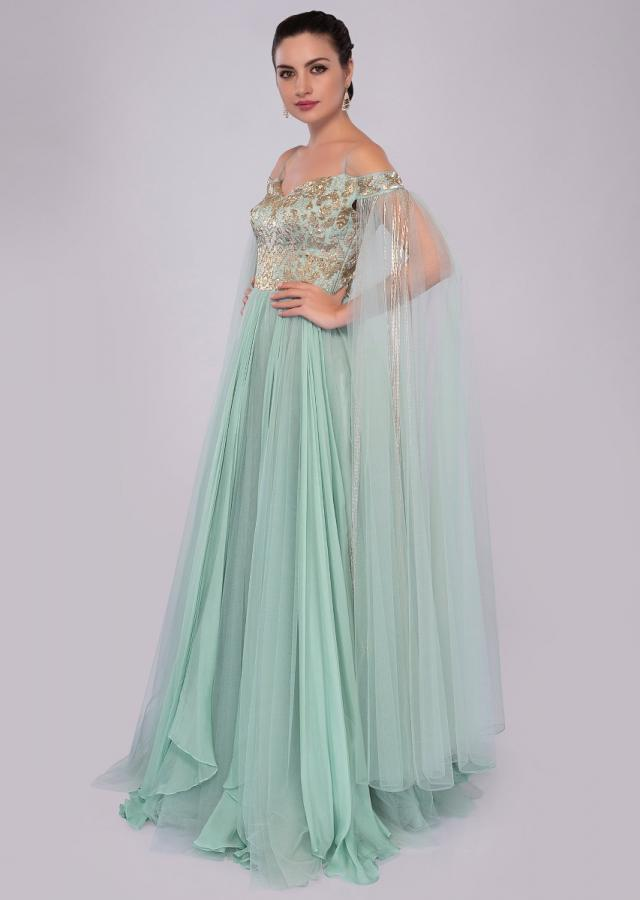 Aviary blue off shoulder gown with flared sleeves only on Kalki