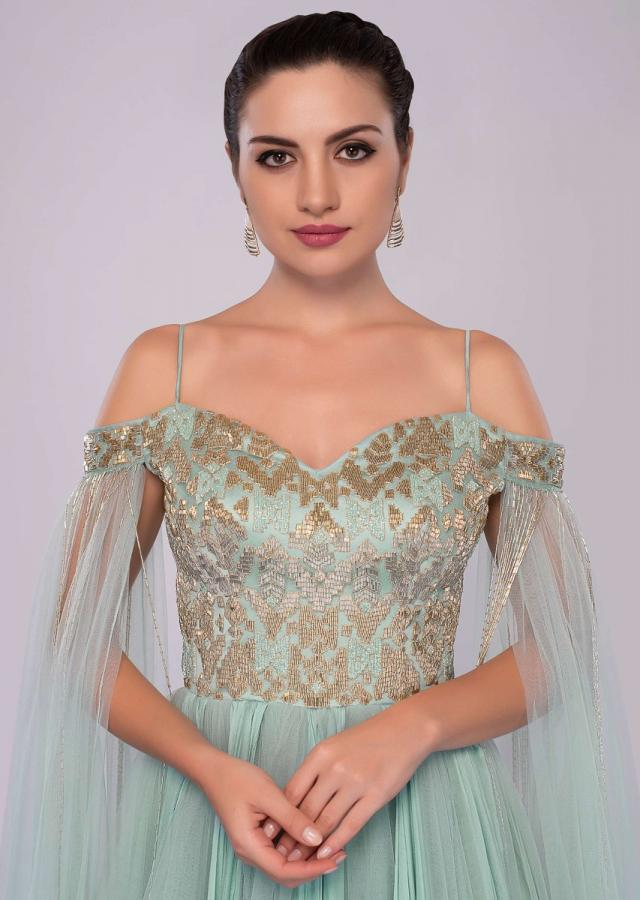 Aviary Blue Off Shoulder Gown With Flared Sleeves Online - Kalki Fashion