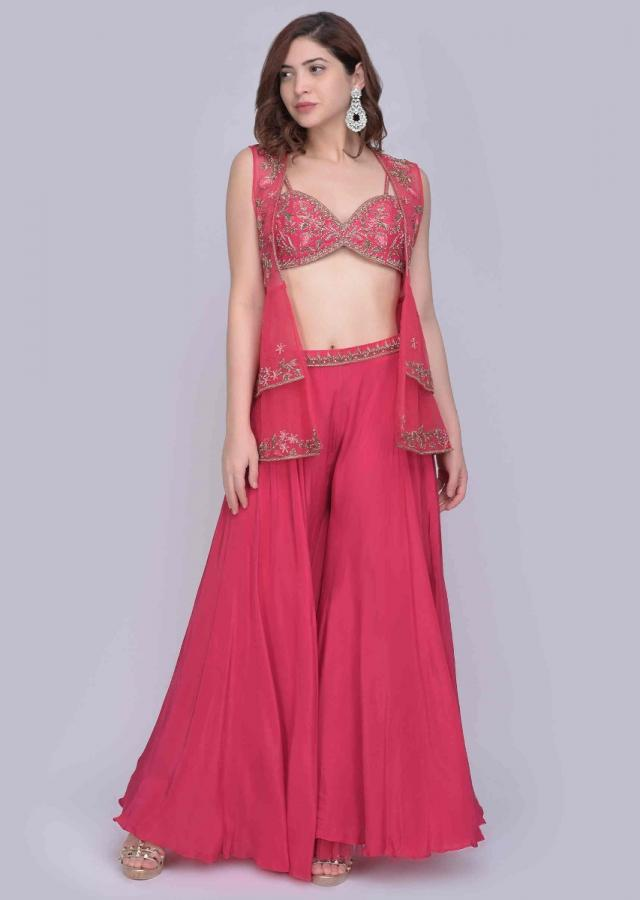 Azalea Pink Palazzo With Matching Embroidered Bustier And A Fancy Frilled Net Jacket Online - Kalki Fashion