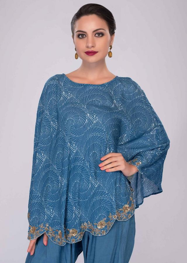 Azure Blue Dhoti Pant Paired With Cape Top In Print And Scallop Border Online - Kalki Fashion