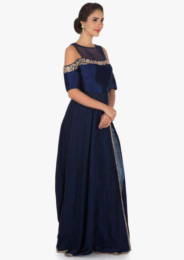 Navy blue top and pant flaunting the high slit with zardosi work only on Kalki